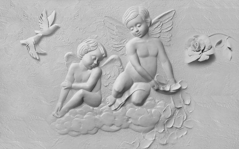 3D Фотообои «Ангелочки на облаке»