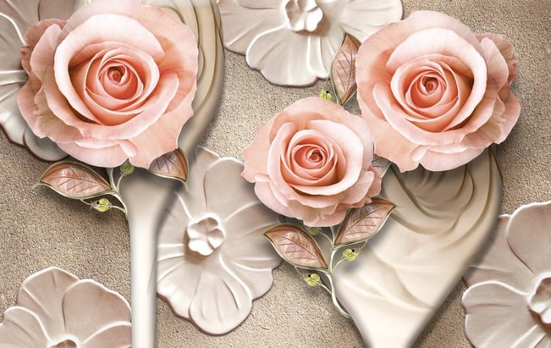 3D Фотообои «Барельефная композиция с розами»