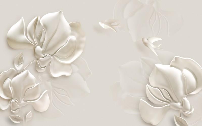 3D Фотообои 3D Фотообои «Объемные цветы из штукатурки»