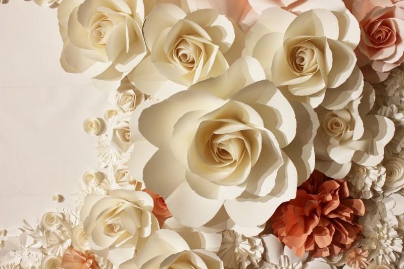 3D Фотообои «Бумажные цветы»