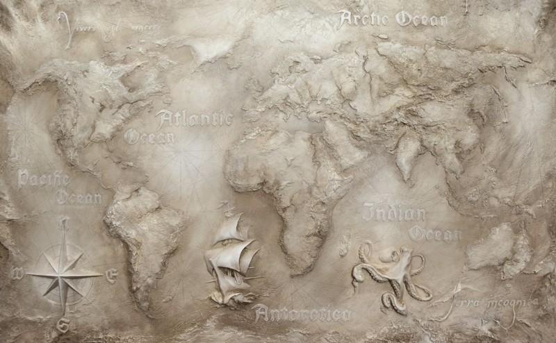 3D Фотообои 3D Фотообои «Барельеф карта мира»