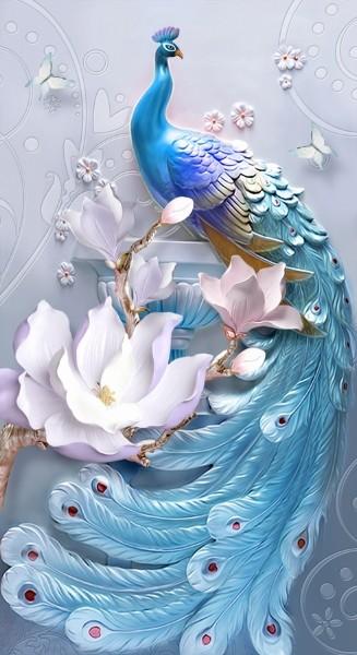 3D Фотообои 3D Фотообои «Голубой павлин»