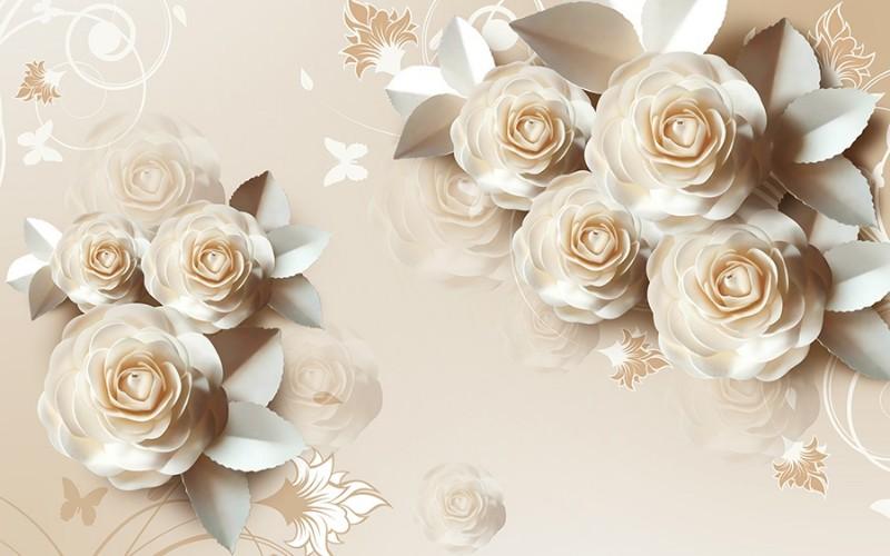 3D Фотообои 3D Фотообои «Кремовая композиция с розами»