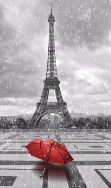3D Фотообои 3D Фотообои «Эйфелева башня под дождем»