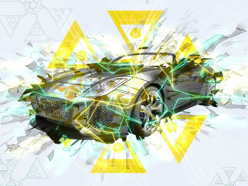 3D Фотообои 3D Фотообои «Кабриолет в абстрактном стиле»