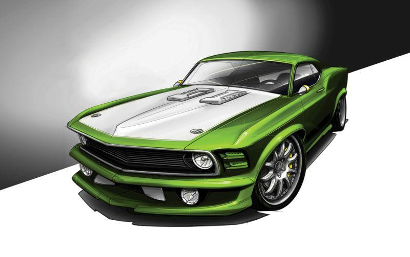 3D Фотообои 3D Фотообои «Скетч зеленый мустанг»