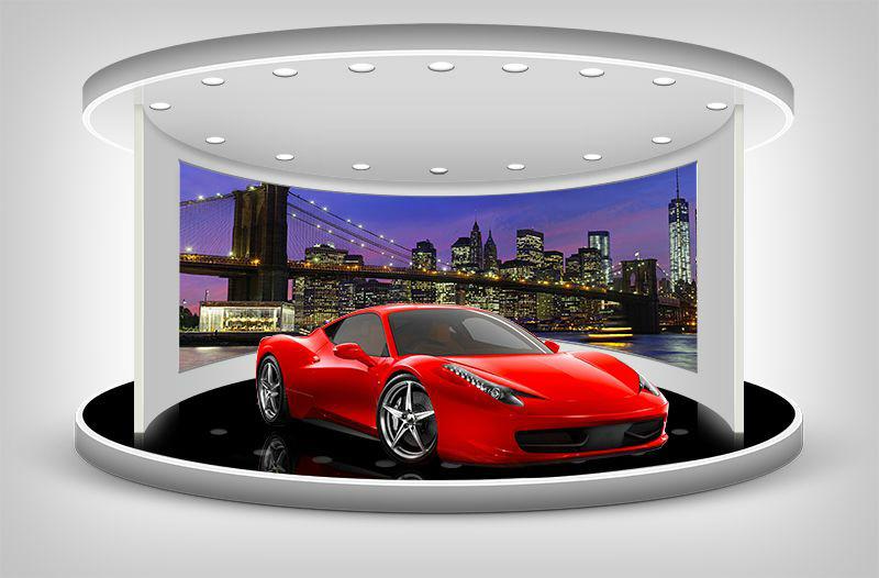 3D Фотообои «Красное авто на выставочном стенде»
