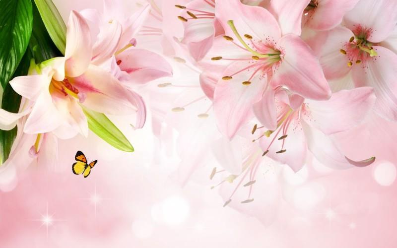 3D Фотообои 3D Фотообои «Розовые лилии с бабочками»