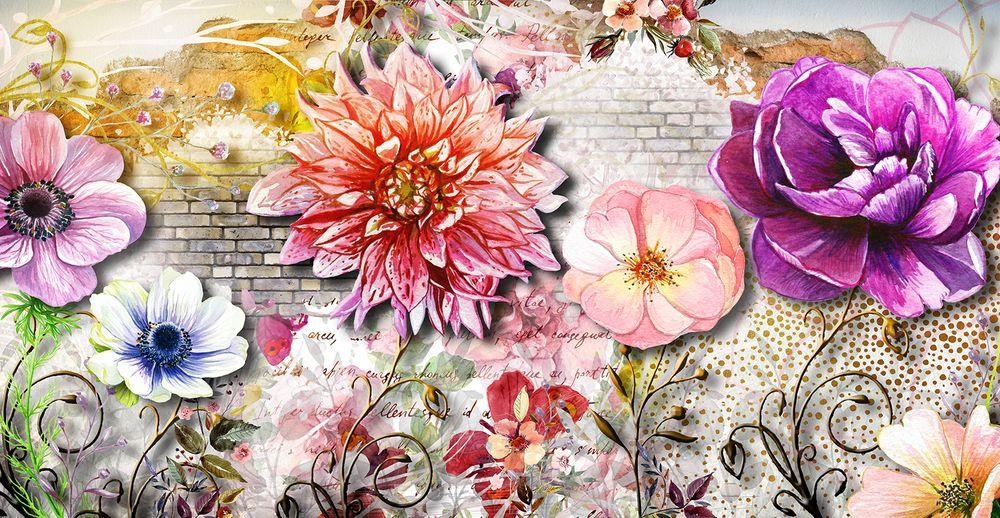 3D Фотообои «Ассорти из ярких цветов»