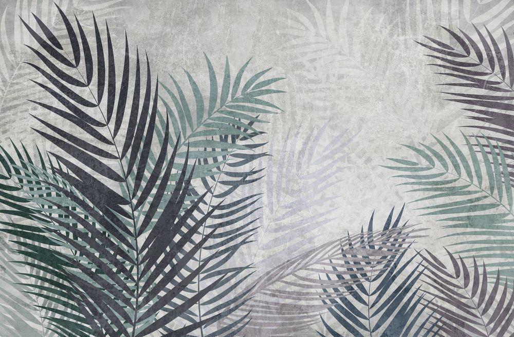3D Фотообои 3D Фотообои «Листья пальмы в сдержанных тонах»