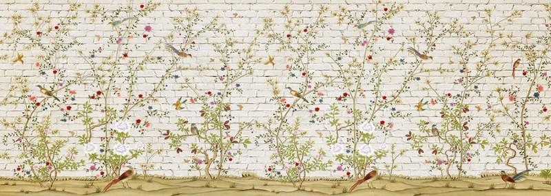 3D Фотообои «Ветви с птицами на кирпичной стене»