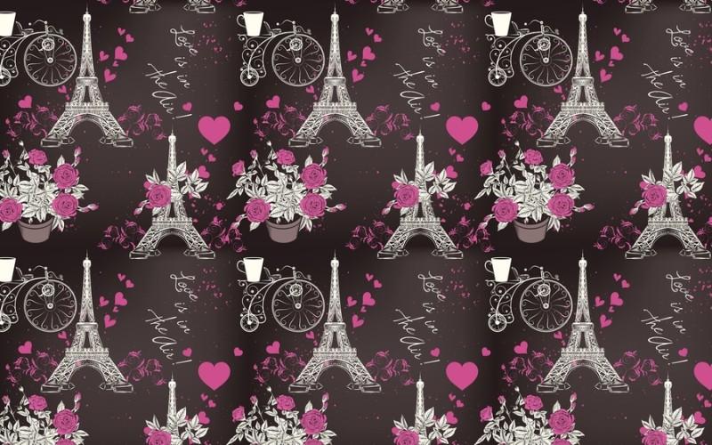 3D Фотообои 3D Фотообои «Романтичный фон с эйфелевой башней»