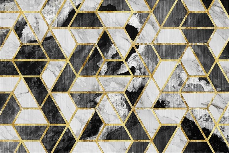 3D Фотообои «Ромбы обрамленные золотом»