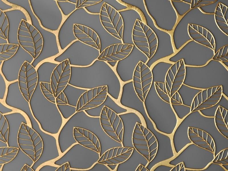 3D Фотообои 3D Фотообои «Узор с золотыми листьями»