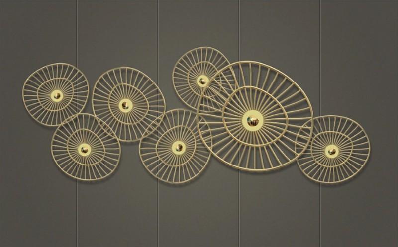 3D Фотообои «Круги из позолоченных прутьев»