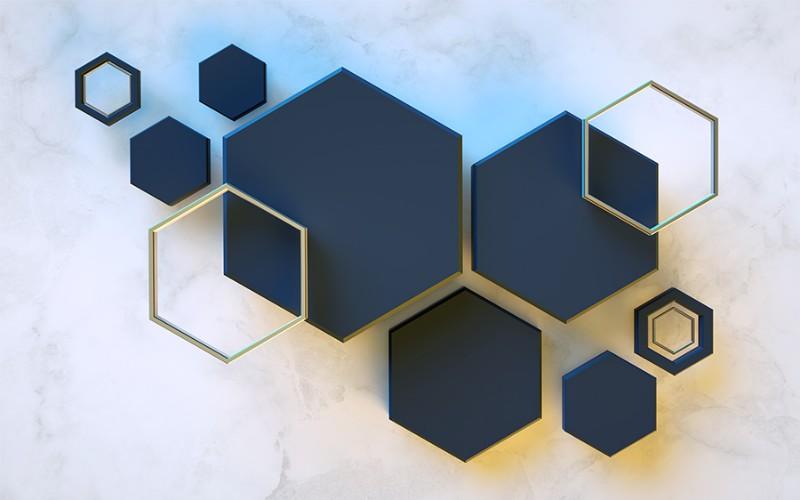 3D Фотообои 3D Фотообои  «Объемный гексагон»