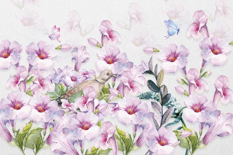 3D Фотообои «Сиреневые петунии с бабочками»