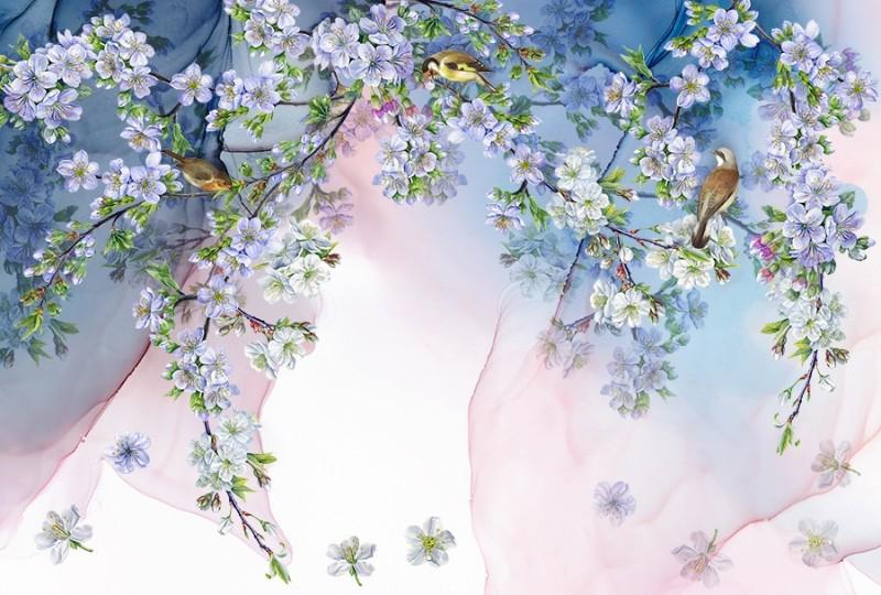 3D Фотообои 3D Фотообои  «Птицы в вишневом саду»