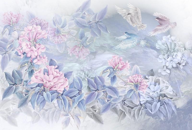3D Фотообои «Порхающие голуби над цветами»