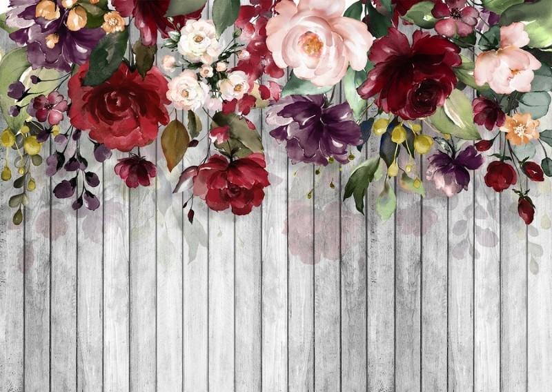 3D Фотообои «Акварельные цветы на древесном фоне»