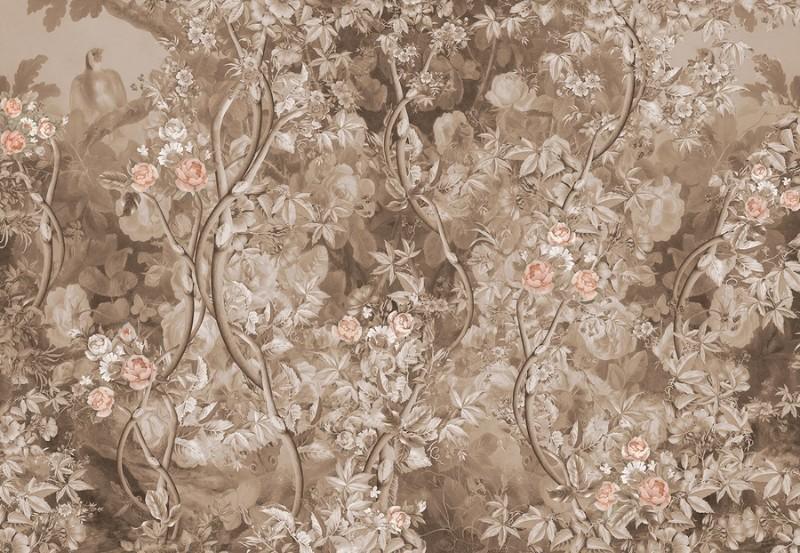 3D Фотообои Фотообои «Розовый сад в винтажном стиле»