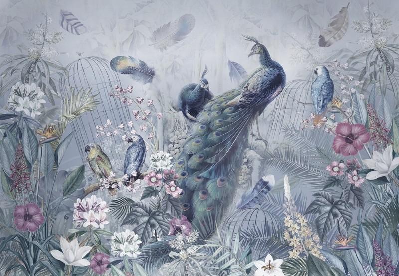 3D Фотообои Фотообои «Сад с павлинами в голубых тонах»