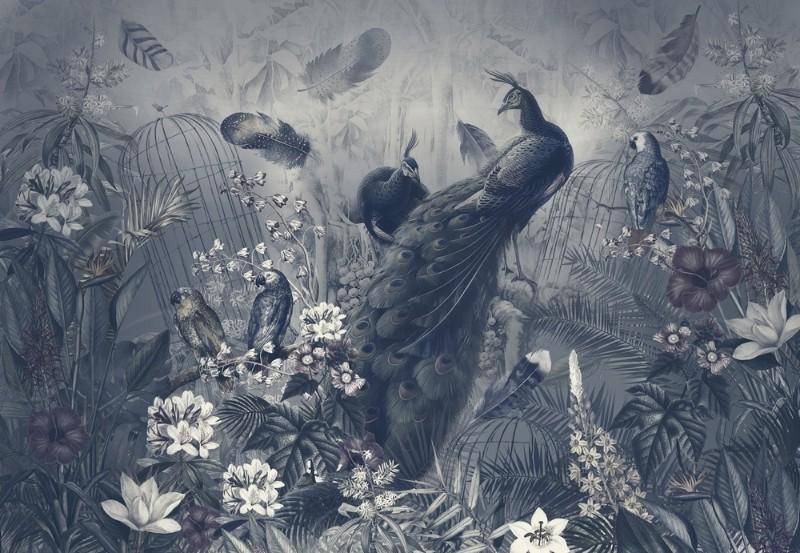 3D Фотообои Фотообои «Сад с павлинами в тёмных тонах»