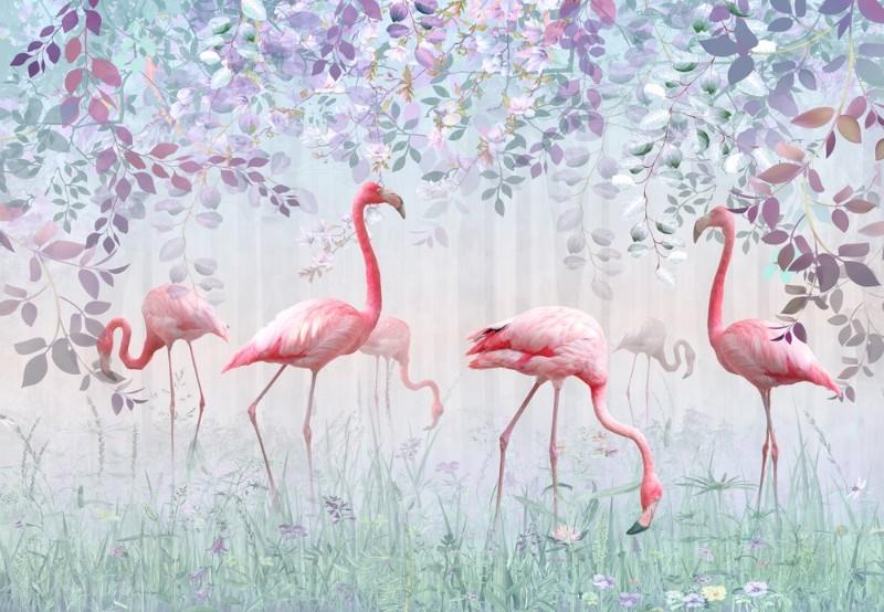 3D Фотообои 3D Фотообои «Фламинго в саду»