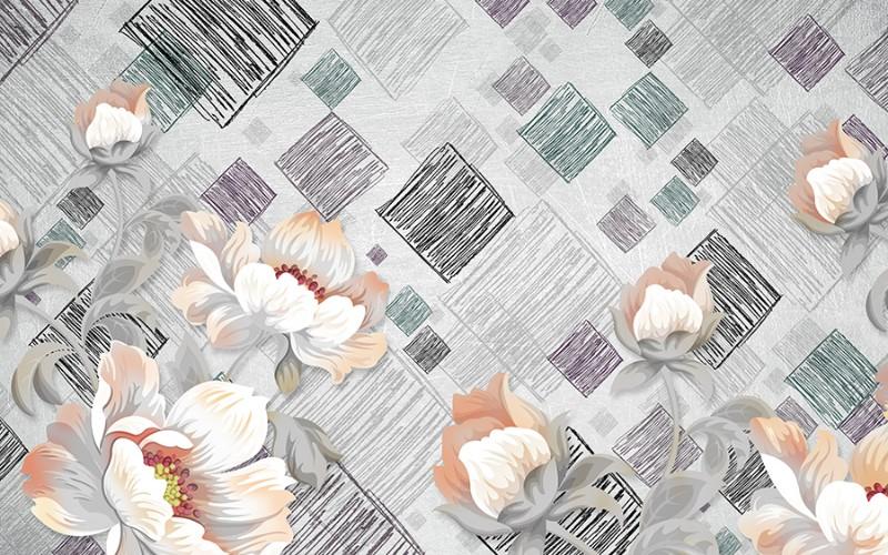 3D Фотообои «Восковые цветы с ромбами»