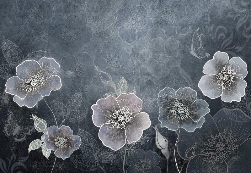 3D Фотообои Фотообои «Волшебный сад в холодных тонах»