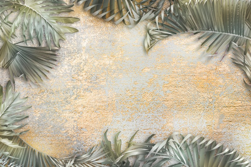 3D Фотообои «Пальма на золотой штукатурке»