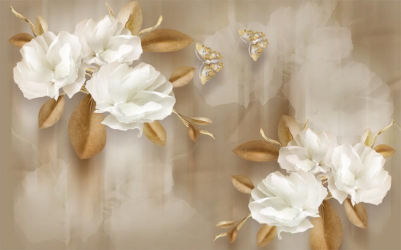3D Фотообои 3D Фотообои  «Цветы с драгоценными бабочками»