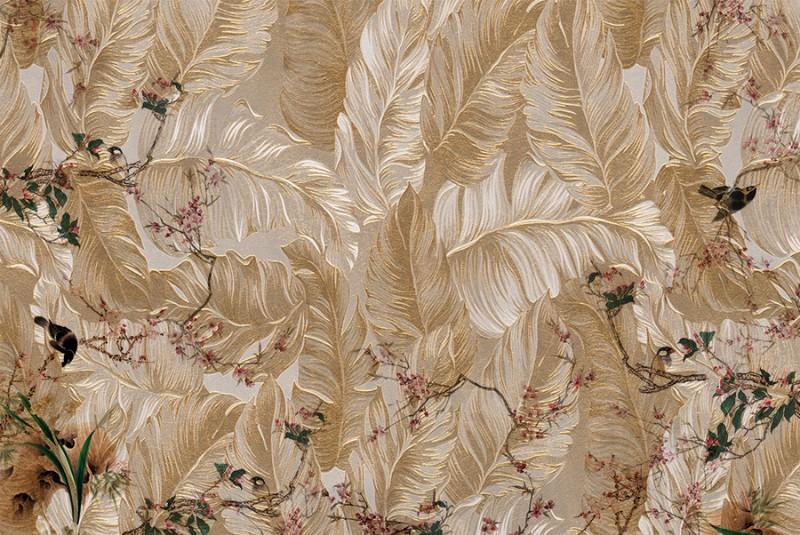 3D Фотообои 3D Фотообои  «Птицы в золотых перьях»