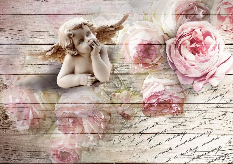 3D Фотообои 3D Фотообои «Ангелочек с розами»