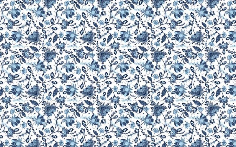 3D Фотообои 3D Фотообои «Цветочный узор с голубым оттенком»