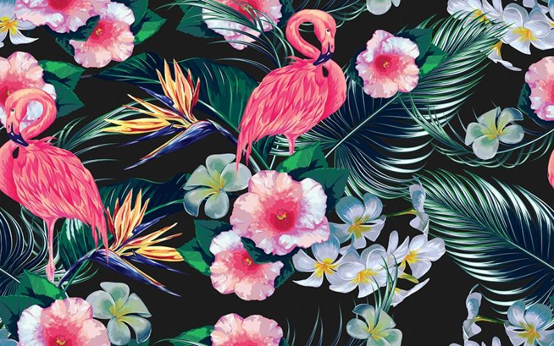 3D Фотообои «Тропическая композиция с фламинго»