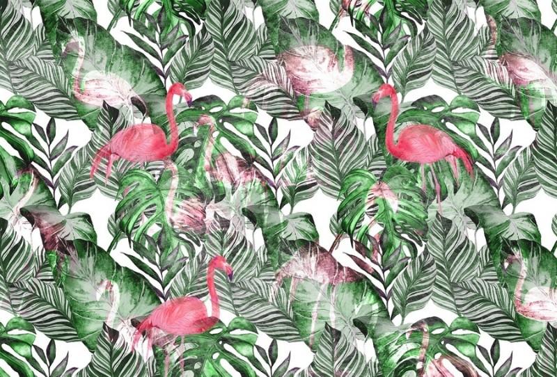 3D Фотообои «Стилизованная композиция с фламинго»