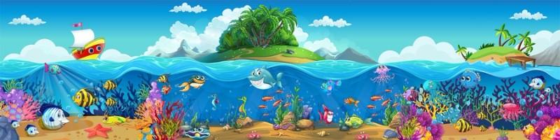 3D Фотообои 3D Фотообои «Мультяшные рыбки»