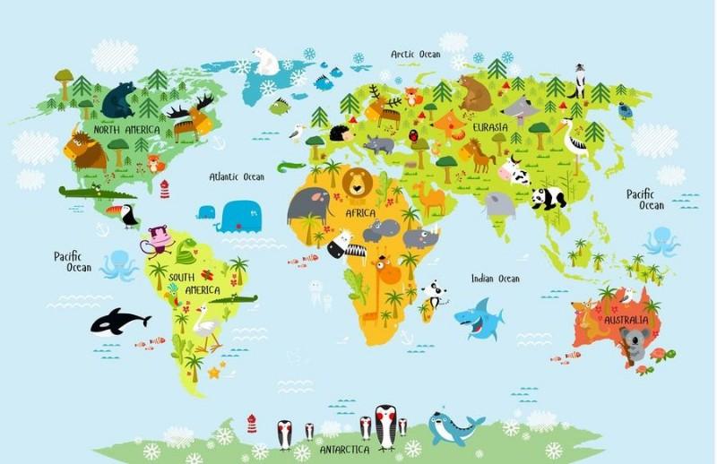3D Фотообои 3D Фотообои «Детская карта мира на голубом фоне»