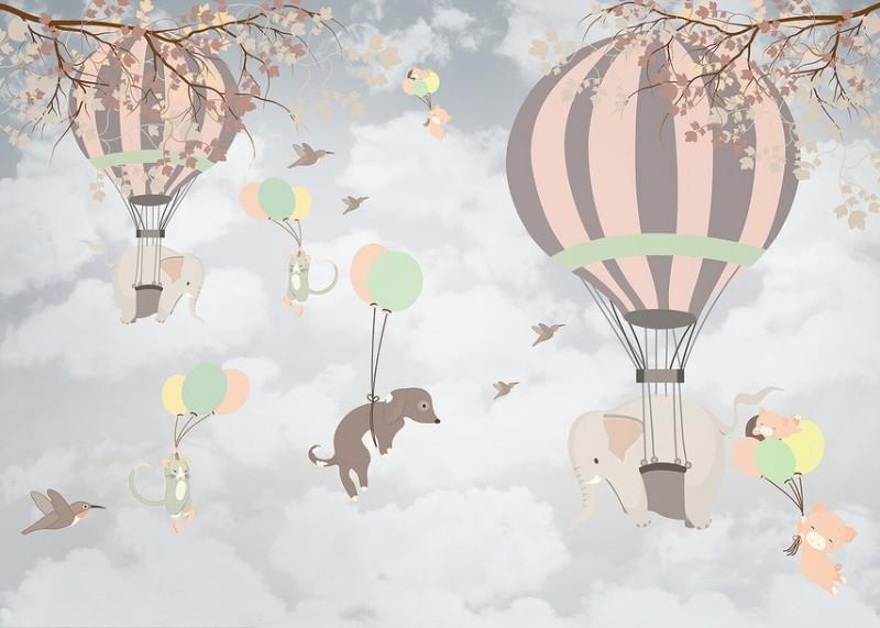 3D Фотообои 3D Фотообои «Животные на воздушных шарах»