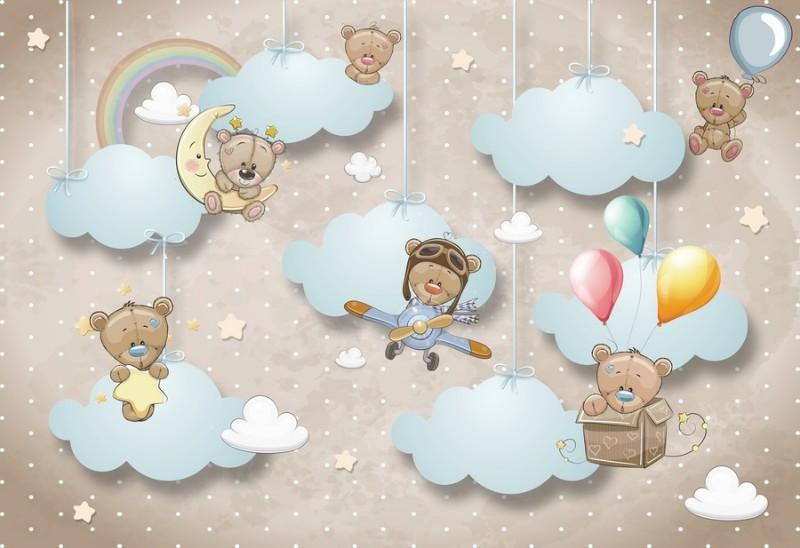 3D Фотообои Фотообои «Мишки в облаках»