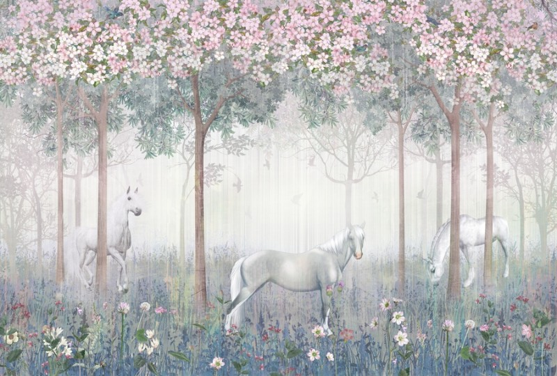 3D Фотообои Фотообои «Лошади в цветущем саду»
