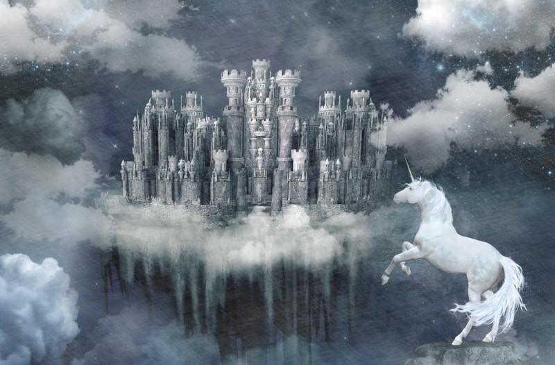 3D Фотообои Фотообои «Ночной облачный замок»