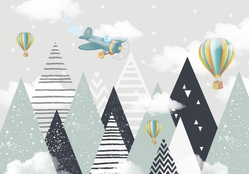 3D Фотообои Фотообои «Геометрические горы с воздушными шарами»