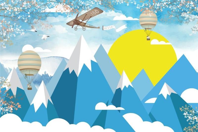 3D Фотообои «Полеты над объемными горами»
