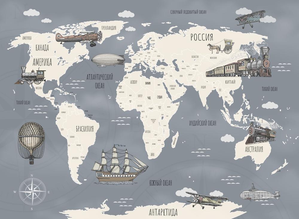 3D Фотообои Фотообои «Ретро карта мира»