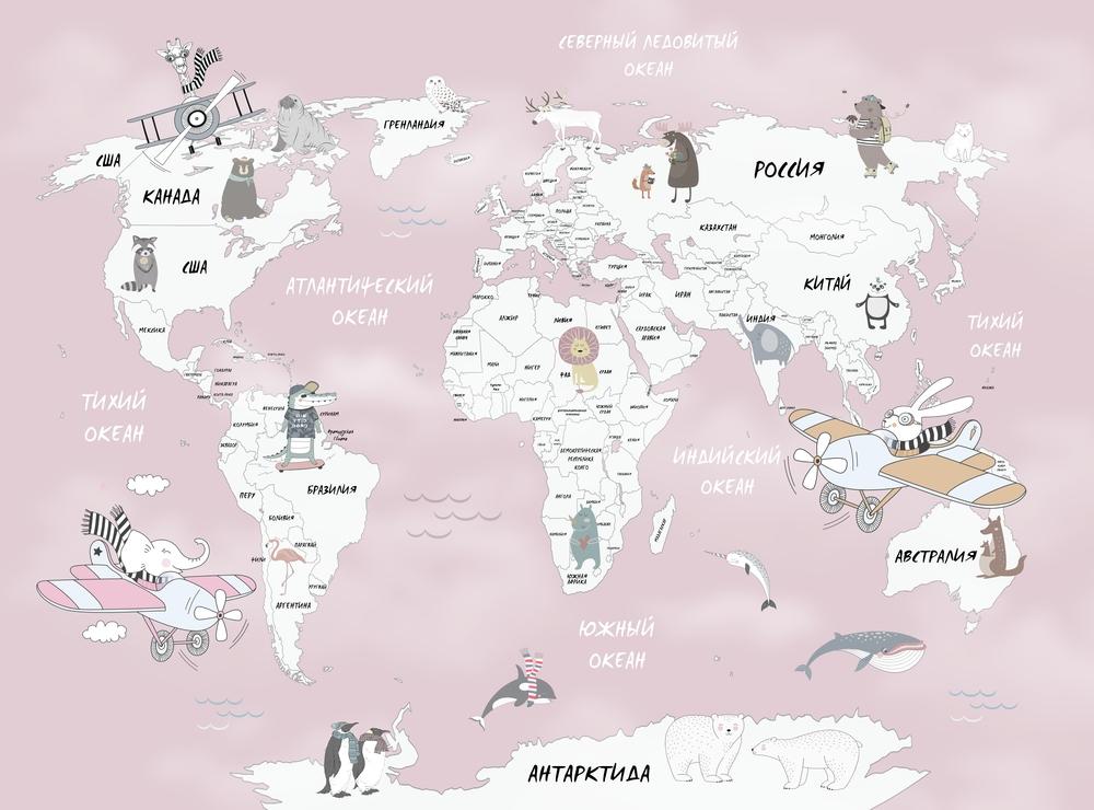 3D Фотообои Фотообои «Весёлая карта мира в розовых тонах»