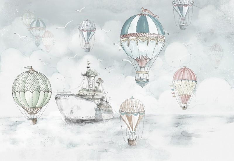 3D Фотообои Фотообои «Акварель с воздушными шарами»