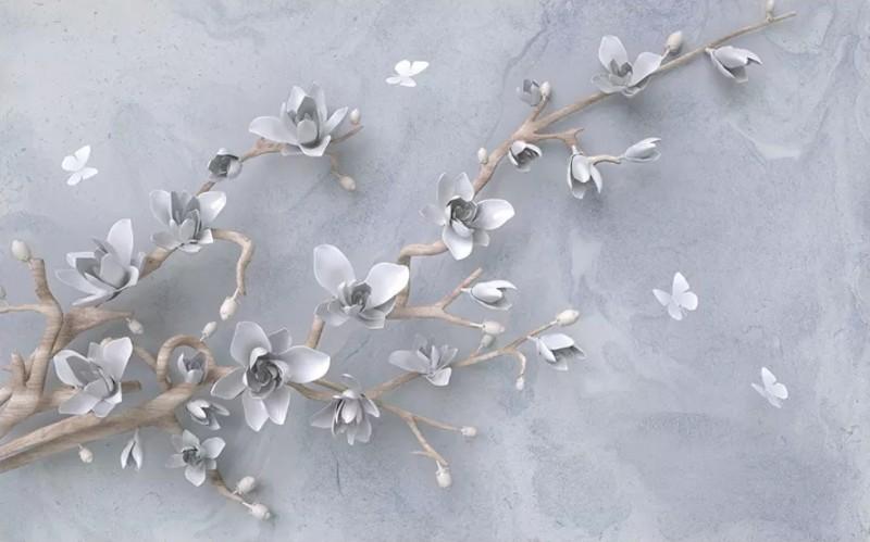 3D Фотообои 3D Фотообои «Бабочки над цветущей веткой»