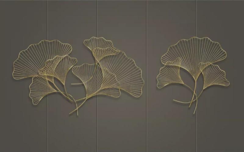 3D Фотообои «Изящные золотые листья»